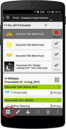 add medicine reminder on healthpie app