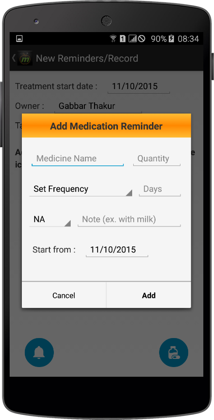 HealthPIE add Medicine Reminder